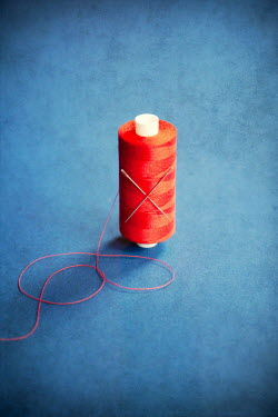 Miguel Sobreira Red Cotton Thread Spool with Sewing Needles
