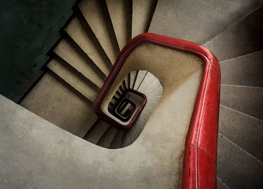 Jaroslaw Blaminsky WHITE AND RED STAIRCASE FROM ABOVE Stairs/Steps