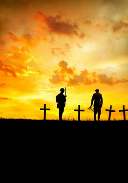 Stephen Mulcahey silhouettes of two ww1 soldier  standing near a graves