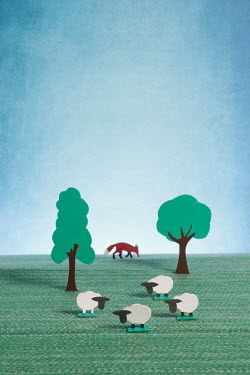 Peter Chadwick Paper craft sheep hunted by fox