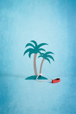 Peter Chadwick Wooden model palm trees with boat
