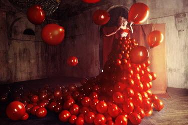 Kirill Sakryukin Woman in dress of red balloons