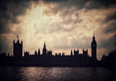 Evelina Kremsdorf Silhouette of UK Houses of Parliament by River Thames in London, England