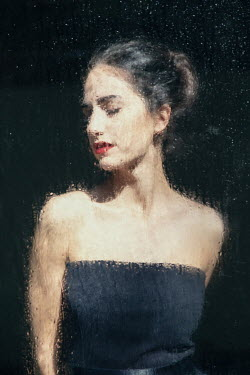 Natasza Fiedotjew young woman in evening dress behind wet window