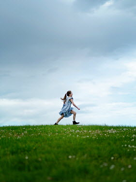 Mary Wethey Girl running in field
