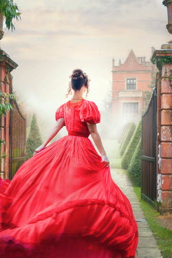 Lee Avison victorian woman in a red gown running towards a mansion