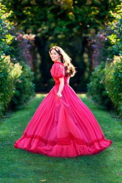 Lee Avison woman in a red victorian dress