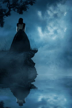 Ildiko Neer Historical woman standing on cliff at evening