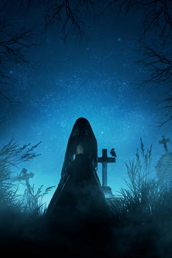 Ildiko Neer Historical woman standing in cemetery at evening