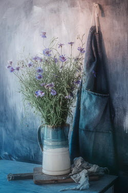 Magdalena Wasiczek bouquet of cornflowers in jug and apron