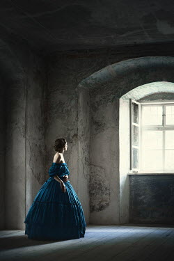 Magdalena Russocka historical woman standing in empty room