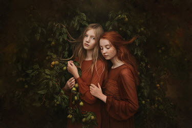 Magdalena Kolakowska TWO YOUNG GIRLS BY FRUIT TREE Children