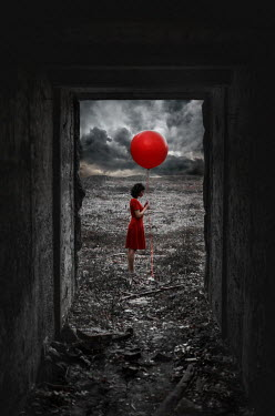 Svitozar Bilorusov WOMAN WITH BALLOON BY DERELICT BUILDING Women