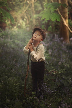 Magdalena Kolakowska LITTLE BOY WITH CAP AND STICK IN COUNTRYSIDE Children
