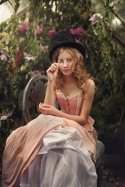 Magdalena Kolakowska GIRL IN TOP HAT WITH MONOCLE IN GREENHOUSE Women