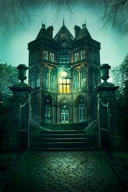 Lee Avison creepy gothic mansion with one light on