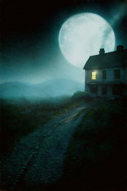 Lee Avison house at night with window light silhouetted by full moon
