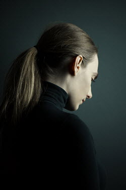 Magdalena Russocka sad modern woman in black jersey