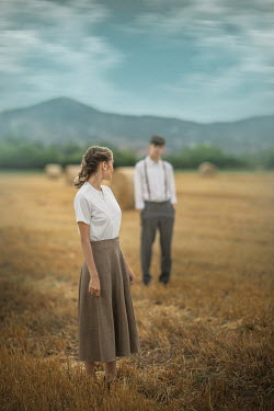 Ildiko Neer Vintage couple standing in field