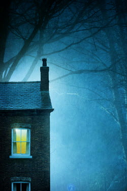 Lee Avison house with window light at night in fog