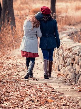 Elisabeth Ansley TWO GIRLS WALKING ARM IN ARM IN AUTUMN Women