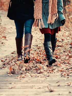 Elisabeth Ansley TWO GIRLS WALKING IN AUTUMN LEAVES Women