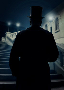 Jaroslaw Blaminsky VICTORIAN MAN IN TOP HAT ON STEPS AT NIGHT Men