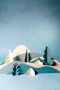 Peter Chadwick Paper craft mountains with trees