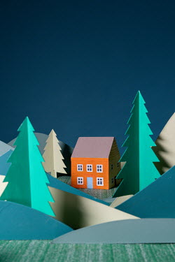 Peter Chadwick Wooden house in paper craft mountains