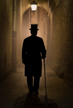 Jaroslaw Blaminsky HISTORICAL MAN WITH HAT AND CANE IN ALLEY AT NIGHT Men