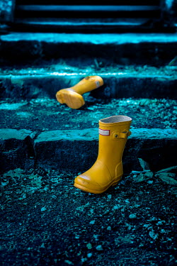 Stephen Mulcahey YELLOW WELLING TON BOOTS ON STEPS OUTDOORS Miscellaneous Objects