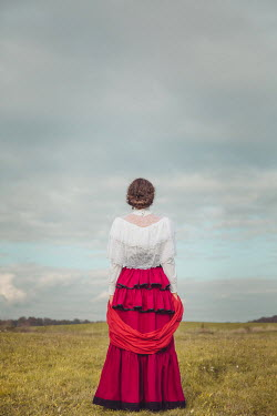 Joanna Czogala HISTORICAL WOMAN WITH SHAWL IN COUNTRYSIDE Women