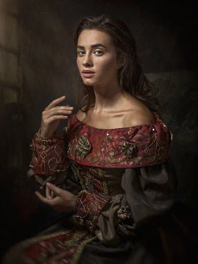 Dmytro Baev HISTORICAL WOMAN IN EMBROIDERED GOWN SITTING INDOORS Women