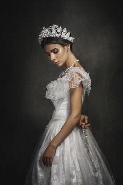 Dmytro Baev WOMAN IN WEDDING DRESS WITH ROSARY Women