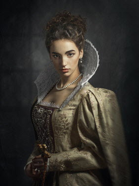 Dmytro Baev BRUNETTE ELIZABETHAN WOMAN WITH LACE COLLAR Women