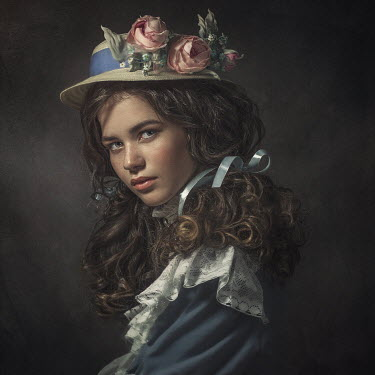 Dmytro Baev BRUNETTE GIRL WITH FLORAL HAT AND LACE COLLAR Women