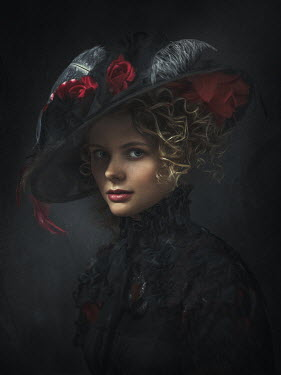 Dmytro Baev WOMAN IN BLACK WITH HAT AND FEATHERS Women