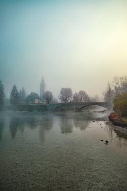 Evelina Kremsdorf STONE BRIDGE OVER MISTY RIVER Lakes/Rivers
