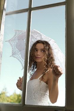 Alex Maxim GIRL OUTSIDE WITH PARASOL KNOCKING ON WINDOW Women