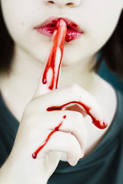 Stephanie Frey GIRL WITH BLOODY HAND WITH FINGER ON MOUTH Women