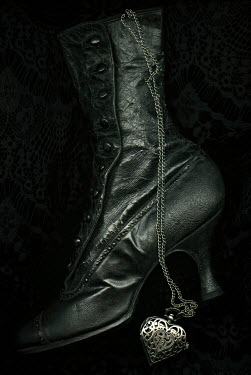 Amy Weiss HISTORICAL FEMALE BOOT WITH SILVER LOCKET Miscellaneous Objects
