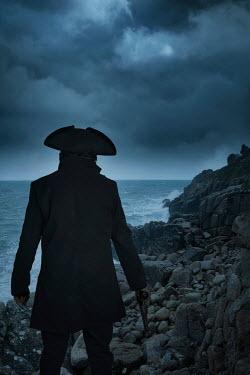 Nic Skerten HISTORICAL MAN WITH GUN WATCHING STORMY SEA Men