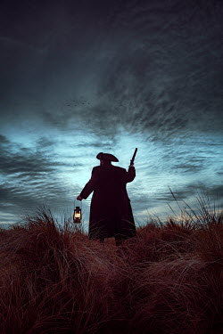 Nic Skerten HISTORICAL MAN WITH PISTOL AND LANTERN ON SAND DUNE Men