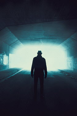 Ildiko Neer Silhouetted man standing in tunnel