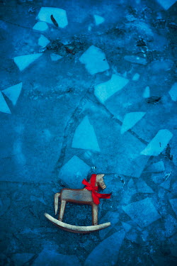 Ildiko Neer Wooden horse with red ribbon on ice