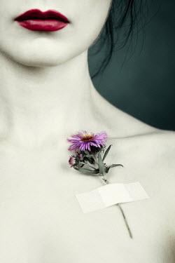 Magdalena Russocka flower on woman's bare shoulder