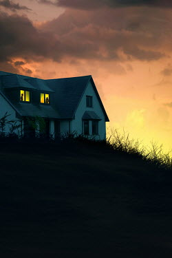 Magdalena Russocka silhouetted man and woman in windows of house at sunset