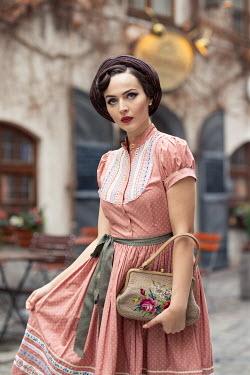 Nina Masic RETRO WOMAN IN DRESS OUTSIDE CAFE Women