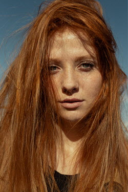 Nina Masic GIRL WITH LONG RED TOUSLED HAIR OUTDOORS Women