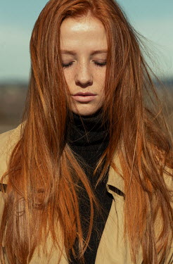 Nina Masic GIRL WITH RED HAIR IN COAT OUTDOORS Women